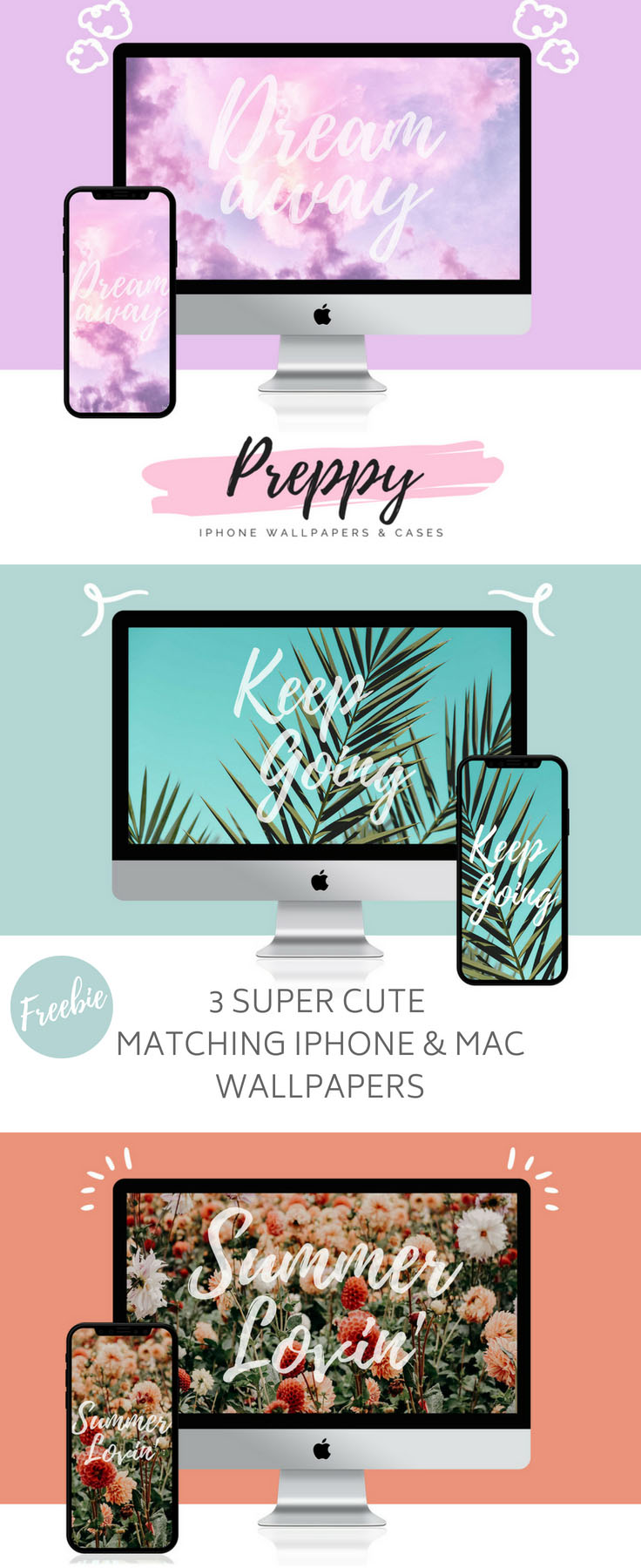 3 Super Cute Matching iPhone + Mac Wallpapers by preppywallpapers.com